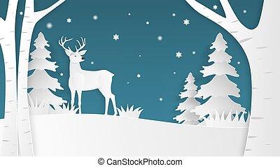 digitale, cervo, carta, fondo., foresta, taglio, fatto, style., blu, mestiere, arte