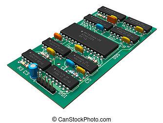 digitale , circuit plank, met, microchips