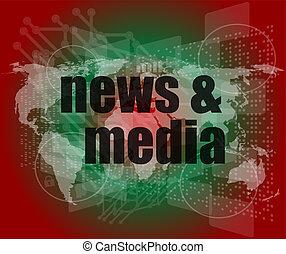 digitale, concept:, notizie, media, premere, schermo, parole