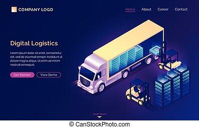 digitale, consegna, atterraggio, logistica, dati, isometrico