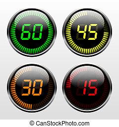 digitale, conto alla rovescia, timer