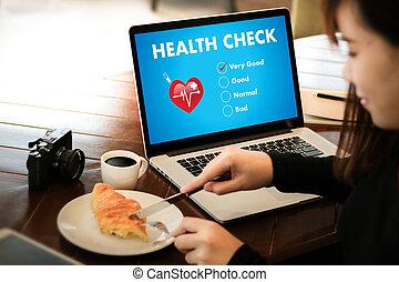 digitale, controllo sanitario, sanità, concetto, dottore, lavorativo, con, computer, interfaccia, come, medico