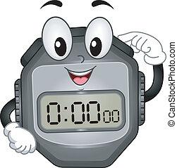 digitale, cronometro, mascotte