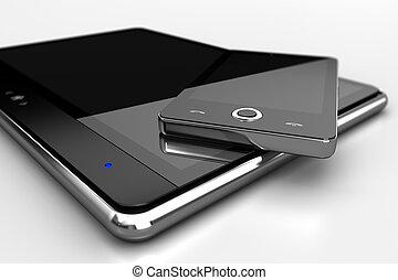 digitale, cuscinetto, con, telefono cellulare