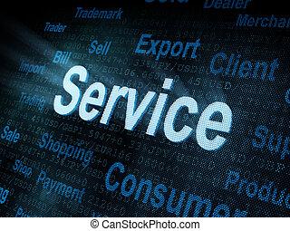 digitale , dienst, pixeled, scherm, woord