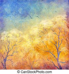 digitale, dipinto olio, alberi autunno, volare, uccelli