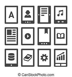 digitale , e-boeken, lezer, iconen, set., vector