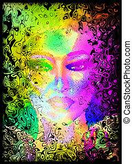 digitale, faccia astratta, womans, arte