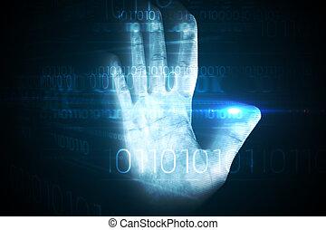 digitale, garanti, hånd tryk, afsøge