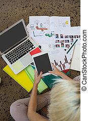 digitale , gebruik, kantoor, tablet, vrouw