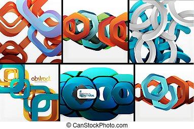 digitale, geometriske, 3, abstrakt, baggrunde