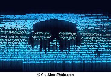 digitale, hakke, og, online, forbrydelse