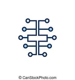 digitale , hersenen, pictogram, -, vector, elektrisch, circuit, hersenen, ai, symbool