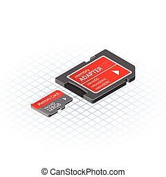 digitale, isometrico, memoria, micro, assicurare, adattatore