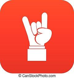 digitale, mano, roccia, segno, rotolo, rosso, icona