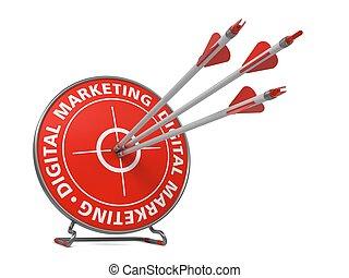 digitale , marketing, concept, -, slaan, target.