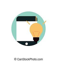 digitale , marketing, idee, creativiteit, smartphone