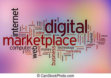 digitale, mercato, parola, nuvola, con, astratto, fondo