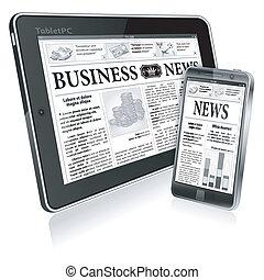 digitale, notizie, concetto, con, affari, giornale, su, schermo, pc tavoletta, e, smartphone, vettore