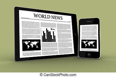 digitale, notizie, esposizione, tavoletta, smartphone