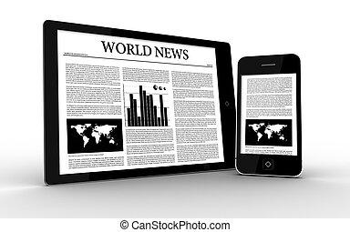 digitale, notizie, visualizzazione, tavoletta, smartphone