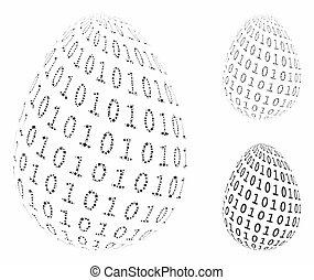 digitale , onderdelen, binair, pictogram, ei, haveloos, mozaïek
