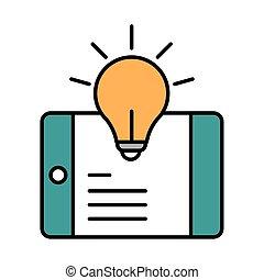 digitale , opleiding, smartphone, opleiding, vullen, creativiteit, inhoud, website, lijn, beweeglijk, online, koersen, pictogram