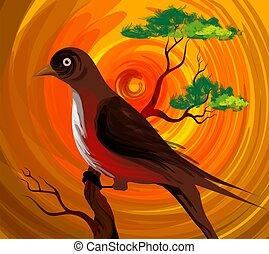 digitale, pittura, di, uno, uccello, seduta, su, il, ramo, di, uno, albero.