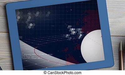 digitale , scherm, globe, het spinnen, nieuws, tablet