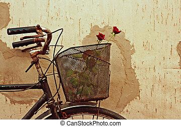 digitale , schilderij, van, rode rozen, in, een, oude fiets, mand
