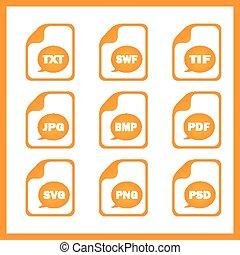 digitale , set, formaten, het indiceren, iconen