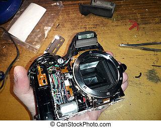 digitale, slr, riparazione, microelettronica, macchina fotografica