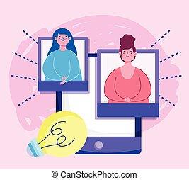 digitale , student, smartphone, creativiteit, opleiding, leraar, online