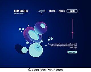 digitale technologie, abstract concept, data, wetenschap, kelner kamer, cyberspace, illustratie, donker, neon, isometric