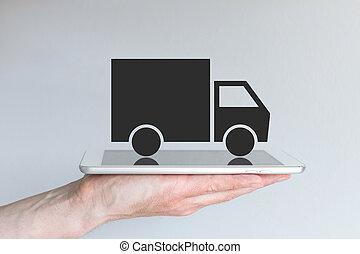 digitale, trasporto, /, logistica, con, camion, icona, su, tavoletta