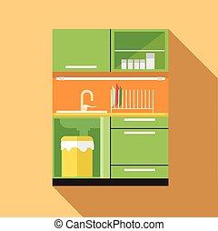 digitale, vettore, immagine, verde, e, arancia, cucina