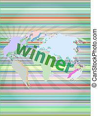 digitale, vincitore, concept:, notizie, premere, schermo, parole