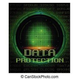 digitale , vingerafdruk, gegevensbescherming, scherm