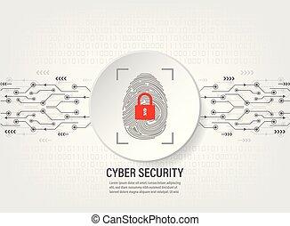 digitale , vingerafdruk, scanderen, op, binaire code, achtergrond