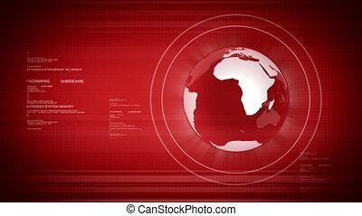 digitale wereld, met, globe