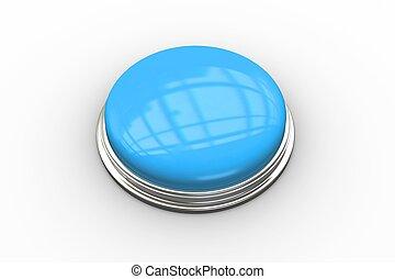 digitalement, bleu, engendré, poussée, brillant, bouton