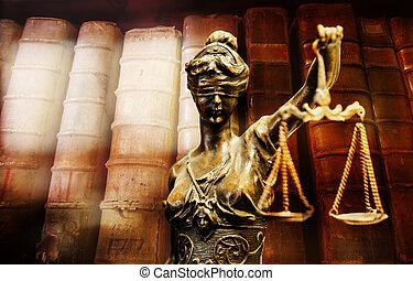 digitalement, face., justice., foyer, bronze, statuette, assemblé, flou, backround.