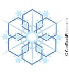 digitalement, flocon, engendré, neige bleue