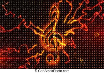 digitalement, musique, fond, engendré