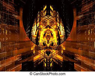 digitalement, palais, résumé, -, engendré, perspective, fond, futuriste