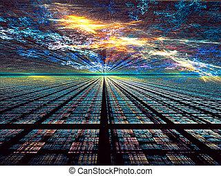 digitalement, résumé, -, engendré, technologie, fond, image