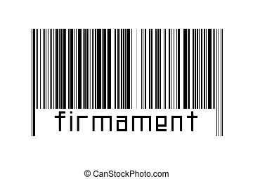 Digitalization concept. Barcode of black horizontal lines with inscription firmament below.