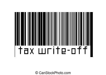 Digitalization concept. Barcode of black horizontal lines with inscription tax write-off below.