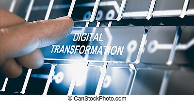 Digitalization, Digital Transformation Concept - Finger...