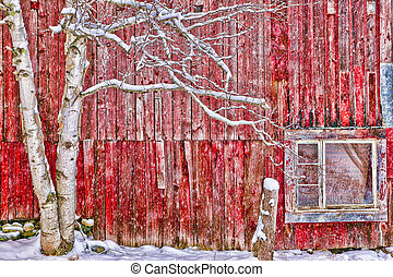 Digitally altered red barn. - Tree in front of a red...
